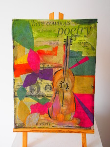Sara Freitas, Mixed Media Collage with Guitar on Canvas