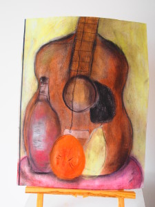Branden Low Age 12 Still Life Guitar Chalk on Paper